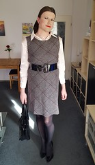Sunrays (Rikky_Satin) Tags: silk satin blouse checkered dress nylons pantyhose highheels pumps crossdresser crossdressing transgender tgirl tgurl sissy secretary