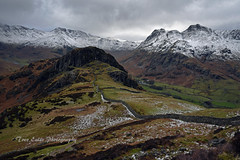 To Side Pike and beyond. (trev.eales) Tags: lingmoorfell sidepike bowfell crinklecrags crags langdalepikes langdales harrisonstickle loftcrag pikeofstickle snow winter langdalevalley drystonewall fells mountains mountainside landscape lakedistrict cumbria nikon treveales
