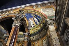 Triumphal arch and apsidal dome mosaics, c820, Basilica di Santa Prassede all'Esquillino, Rome (edk7) Tags: nikond300 nikonnikkor18200mm13556gedifafsvrdx edk7 2008 italia roma lazio italy rome basilicadisantaprassedeall'esquillino basilicasanctaepraxedis basilicaofsaintpraxedes church mosaic apse apsesurround apsesemidome baldachino christian romancatholic builtc780 rebuiltpopepaschalic820 art artwork architecture building oldstructure carolingianrenaissance romanbaroque interior triumphalarchmosaic angel congregation churchman priest christ evangelist column capital marble granite word text shadow