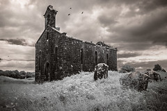 Kilkenny West Church (Rodney Harvey) Tags: abandoned church ruin westmeath ireland stone ancient moody rural decay uk cemetery headstones graveyard architecture infrared birds bw