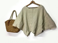 Linen Loose Top - Linen Blouse - Linen Clothing - Minimalist Clothing - Batwing Top - Loose Fit - Boho Chic Clothing - Upcycled Clothing by PrimitiveFringe (Primitive Fringe) Tags: upcycled clothing boho shabby chic handmade etsy mori girl