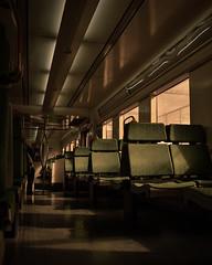 Endless Railways (hiraaeth) Tags: train travel seats subway alone lonely pic railways endless infinite green dark