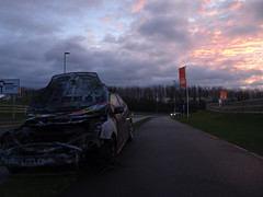 Flames in the sky (stevenbrandist) Tags: ford focus car fire leicestershire road damage enginefire morning commute de09kzz redsky