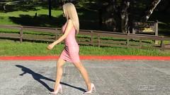Pink PVC dress (5) (horsak) Tags: pink pvc dress shoes hot high heels fashion female sexy shiny legs blond