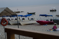 Boats on the beach in Greece.
