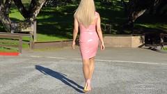 Pink PVC dress (3) (horsak) Tags: pink pvc dress shoes hot high heels fashion female sexy shiny legs blond