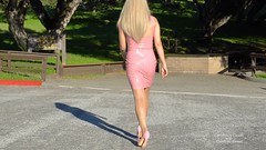 Pink PVC dress (2) (horsak) Tags: pink pvc dress shoes hot high heels fashion female sexy shiny legs blond