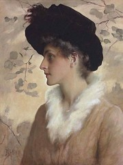 boughton-george-henry---portrait-of-a-lady-wearing-a-black-hat-and-fur-stole_15936621339_o (Sabri KARADOĞAN) Tags: george henry boughton
