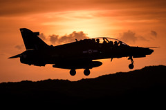 'Last One On The Deck' (Chris Gilligan) Tags: raf valley anglesey wales uk hawk t2 advanced jet trainer mfts training student learning sunset landing sand dunes nikon d7000 silhouette