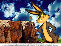 Showdown on the Lilliputian Chaparral (Joe Ekaitis) Tags: gulliver bunny giant rabbit hare horse mustang prairie chaparral gimp