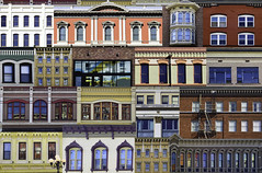 Gaslamp Collage (Lee Sie) Tags: collage archirecture gaslamp district sandiego downtown windows colors facades buildings historical