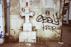 (Bucuresci Cartel) Tags: street art graffiti big europe culture lifestyle romania konica eastern bucharest bucuresti urban love 2004 colors kodak decay grain mini 200 expired ultra aps advantix bms100 hyeroglyphics