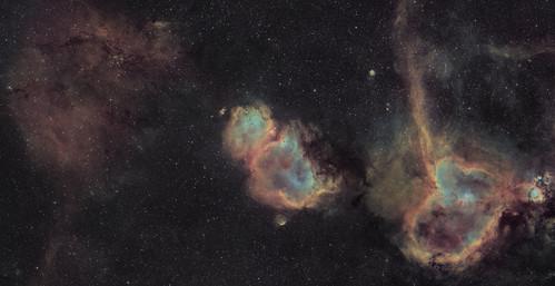 Sh2-202, Soul Nebula, Heart Nebula