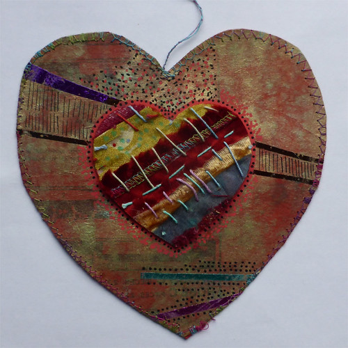 handmade paper and fabric heart