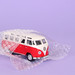 Red VW Bully packed in bubble wrap