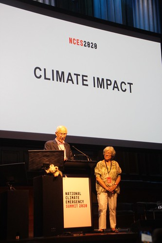 Ian Dunlop and Carmen Lawrence read out the Safe Climate Declaration at Climate emergency summit - IMG_7574