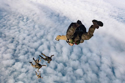 Sailors conduct unstable exit free fall jumps as part of flight operations with the Spanish navy, Feb. 13, 2020.