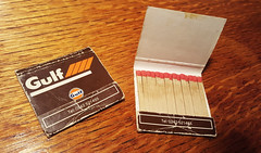 Photo of Gulf Oil (GB) matchbooks, late 1980s