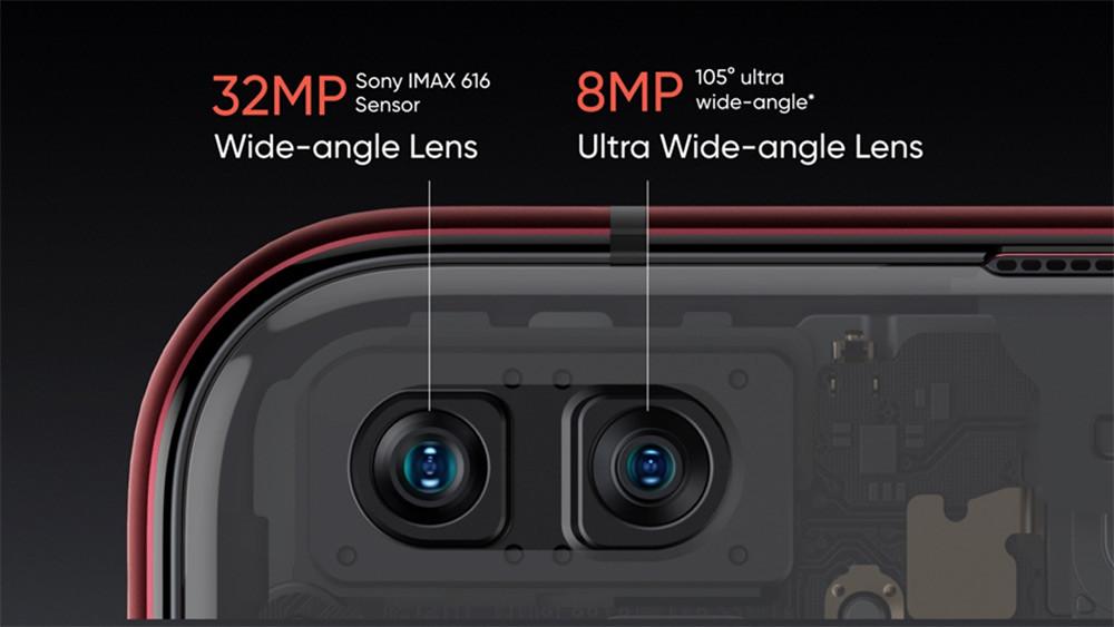 realme-X50-Pro-5G前鏡頭配置3200萬主鏡頭與800萬105°超廣角鏡頭。