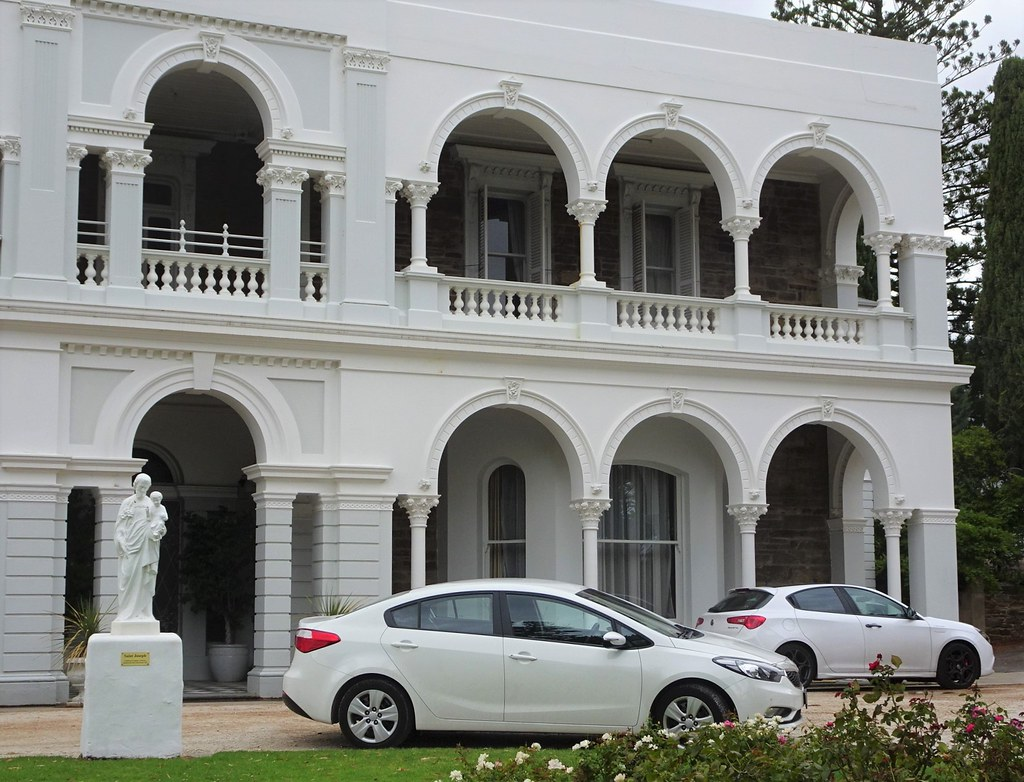 Adelaide. Rostrevor House. This eastern two storey wing was added in 1877 to an 1858 house. Colonnades added in 1887. Became Christian Brothers Rostrevor College in 1923.