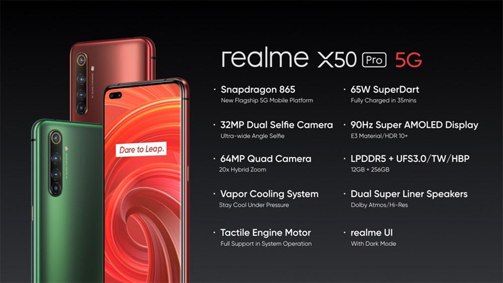 realme-X50-Pro搭載Snapdragon-865、6400萬鷹眼變焦四鏡頭、3200萬超廣角雙前鏡頭、90Hz-Super-AMOLED以及65W-SuperDart超級閃充。