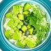 Fresh salad with avocado, romanesco cabbage and watercress. Top view
