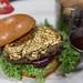 Luxus-Burger beim Hard Rock Cafe: Steak mit essbarem Blattgold bedeckt. Nahaufnahme