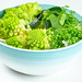 The concept of healthy diet food. Salad with avocado, romanesco cabbage and watercress