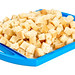 Bread crumbs on a blue tray