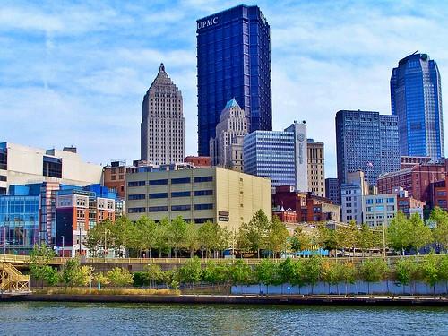 Pittsburgh Pennsylvania  - Allegheny River  Skyline  -  UPMC Building - Huntington Bank