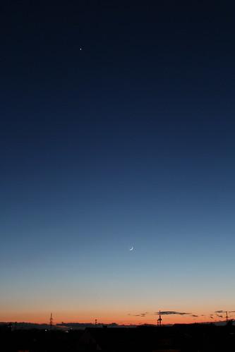High above the City, Moon & Venus