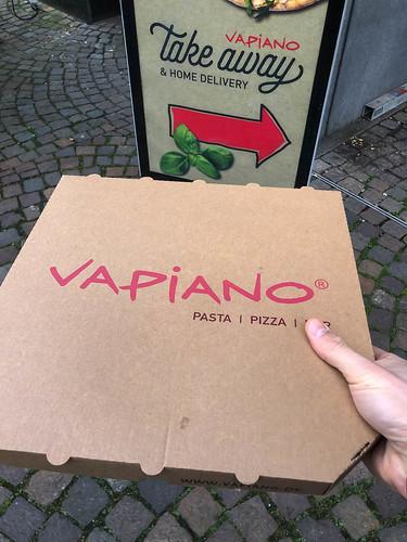 Take-away pizza from Italian-style restaurant chain Vapiano in Germany