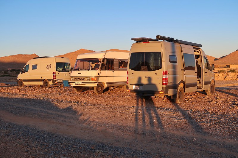 Middle Atlas Mountains with Barbary macaques (monkeys). Wild camping in our Sprinter van in Morocco, Africa.