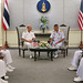 Commander, U.S. 7th Fleet and senior leadership sitwith Adm. Sittiporn, the Royal Thai Navy's chief of staff during an office call