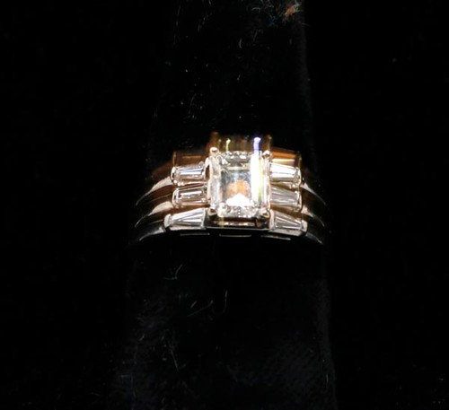 14k white gold Bridal ring w/ 1 carat center diamond & 6 tapered baguette diamonds ($2,352.00)