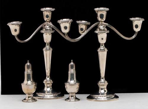 Pair of Sterling Gorham weighted candelabras ($201.60)
