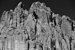 Towering Peaks of Cliff Walls (Black & White, Capitol Reef National Park)