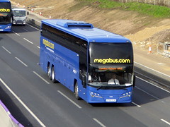 Photo of 54201 / SF62 CLV - Volvo B11RT / Plaxton Elite I - Stotts Coaches / megabus -  M1 at Milton Keynes 22Feb20