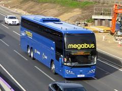 Photo of 54607 / YX68 UAP - Volvo B11RT / Plaxton Elite I - Stagecoach Midlands / megabus -  M1 at Milton Keynes 22Feb20