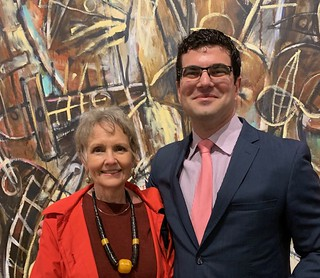 Barbara Young with Sergio Cernuda at the Carlos Alfonso opening at LnS Gallery
