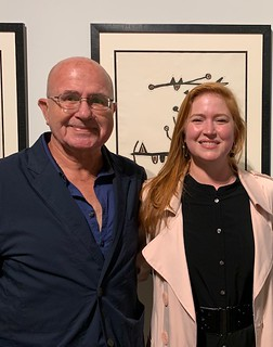 Artist Cesar Trasobares with Luisa Lignarolo de Cernuda co-owner of LnS Gallery at Carlos Alfonzo museum quality exhibition