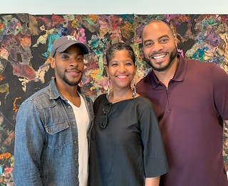 Artist Stephen Arboite with Lauren and Jumane N'Namdi, owners of N'Nambi Contemporary gallery in Little River for the progressive Sunday brunch