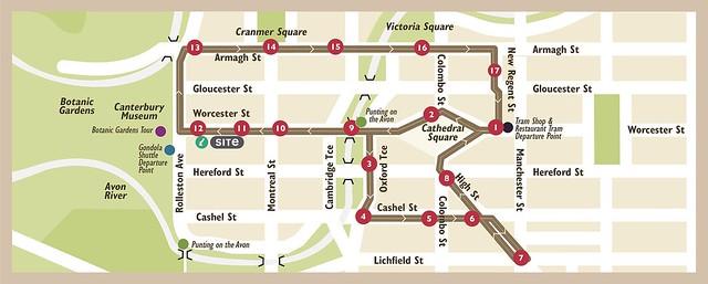 基督城電車地圖