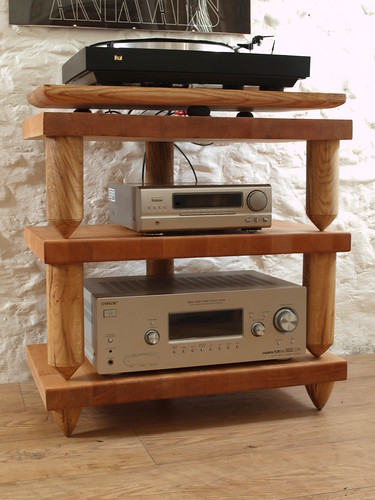 "Bespoke Beech block three tier decoupled hifi rack with Oak turned legs & suspended turntable platform.Inset bubble level to each tier. • <a style=""font-size:0.8em;"" href=""http://www.flickr.com/photos/69514980@N03/49600364092/"" target=""_blank"">View on Flickr</a>"