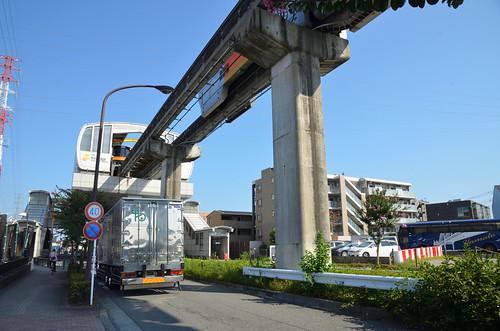 Tama Monorail Train Leaving Koshu-kaido Station 9