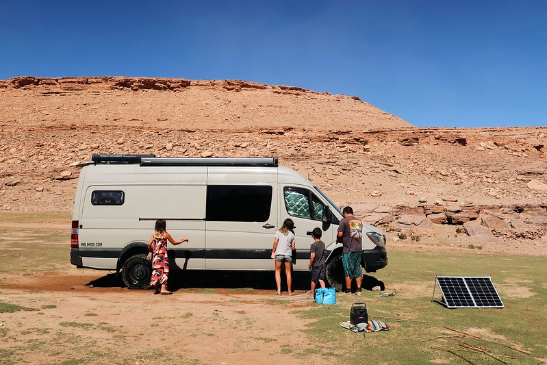 Driving and wild camping in Todra Gorge, Morocco, Africa with our Sprinter Van.
