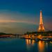Illuminated Eiffel Tower during Sunset