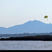 20170715_05 Parasailers, tall plants, & blue mountains seen from Billionaire Bay, Antibes, France