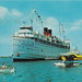 SHIP 1960s SS SOUTH AMERICAN and a GREAT VIEW OF A SMALL SEAPLANE at an unknown Michigan Port of Call thew South American was the Sister Ship to the SS NORTH AMERICAN Small Boat has Michigan MC Numbers