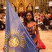 Commonwealth Young Person of the Year 2019, Oluwaseun Osowobi, bearing the Commonwealth Flag
